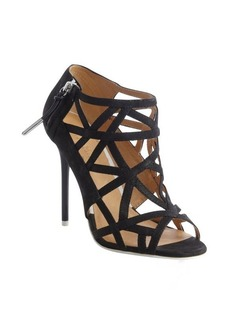 L.A.M.B. black leather 'Flower' strappy caged peep toe sandals