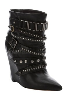 L.A.M.B. black leather 'Thacker' buckle detail wedge boots