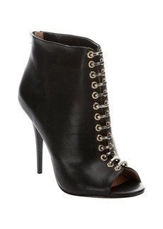 L.A.M.B. black leather 'Tony' peep-toe booties