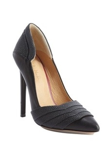 L.A.M.B. black smooth and pebbled leather 'Diane' pumps