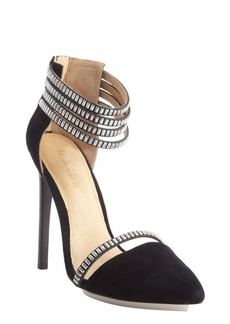 L.A.M.B. black textured leather 'Fernley' studded strap sandals