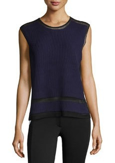 L.A.M.B. Bonded Sleeveless Sweater, Black/Indigo