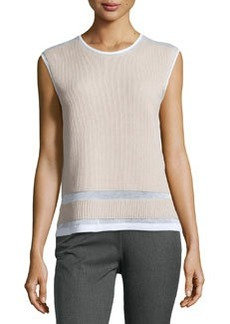 L.A.M.B. Bonded Sleeveless Sweater, White/Oyster