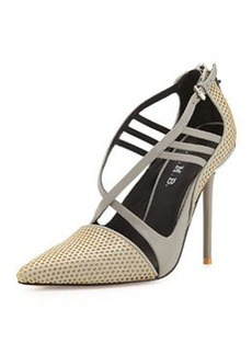 L.A.M.B. Boston Strappy Perforated Pump, Grey/Yellow