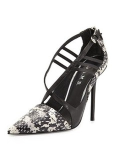 L.A.M.B. Boston Strappy Snakeskin Pump, Black