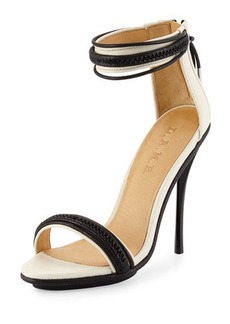 L.A.M.B. Braided Leather High-Heel Sandal