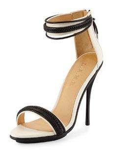 L.A.M.B. Braided Leather High-Heel Sandal, Black/Ice