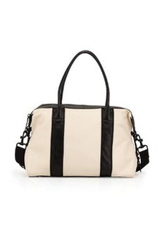 L.A.M.B. Colorblock Leather Satchel Bag, Bone
