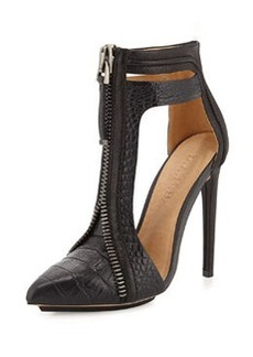 L.A.M.B. Daisey Crocodile-Embossed Leather Bootie, Black