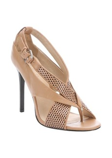 L.A.M.B. dark camel perforated leather 'Beverlee' stiletto sandals