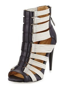 L.A.M.B. Deon Colorblock Leather Caged Bootie, Black/White