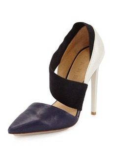 L.A.M.B. Derby Leather Colorblock d'Orsay Pump, Navy