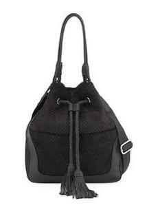 L.A.M.B. Dixy Tassel Leather Hobo Bag, Black