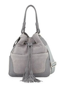 L.A.M.B. Dixy Tassel Leather Hobo Bag, Gray
