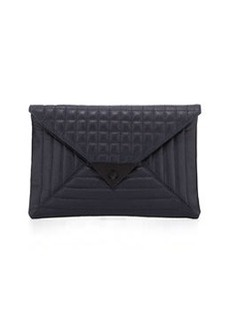 L.A.M.B. Ebba Quilted Leather Envelope Clutch, Midnight Leather