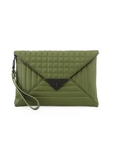 L.A.M.B. Ebba Quilted Leather Envelope Clutch, Rifle Green