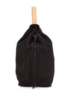 L.A.M.B. Elke Leather Bucket Bag, Black