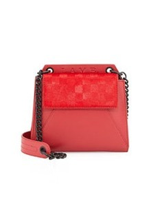 L.A.M.B. Ellis Calf-Hair Shoulder Bag, Red