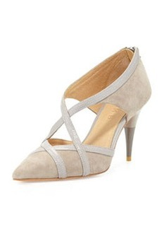 L.A.M.B. Envoy Cutout Pointed-Toe Pump, Taupe