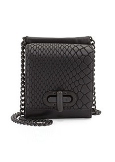 L.A.M.B. Etsie Snake-Embossed Shoulder Bag, Black
