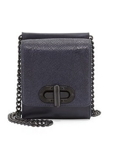 L.A.M.B. Etsie Snake-Embossed Shoulder Bag, Midnight