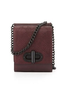 L.A.M.B. Etsie Snake-Embossed Shoulder Bag, Wine