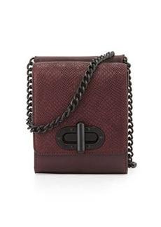 L.A.M.B. Etsie Snake-Embossed Shoulder Bag, Wine