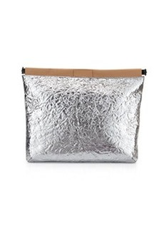 L.A.M.B. Fallon Metallic Leather Clutch Bag, Silver