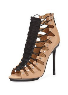 L.A.M.B. Falyn Gladiator Sandal, Black/Natural