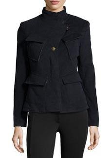 L.A.M.B. Fleece Diagonal-Pockets Jacket, Navy