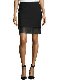 L.A.M.B. Gabardine Eyelet-Border Skirt