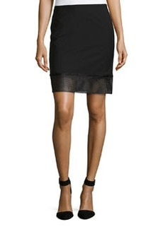 L.A.M.B. Gabardine Eyelet-Border Skirt, Black
