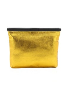 L.A.M.B. gold metallic leather 'Fallon' oversized clutch