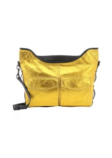 L.A.M.B. gold metallic leather 'Glad' utility messenger bag