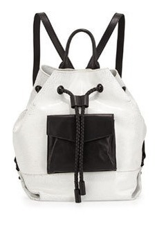 L.A.M.B. Gracie Colorblock Leather Backpack, White