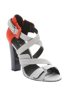 L.A.M.B. grey leather and orange calf hair 'Korry' strappy sandals