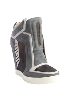 L.A.M.B. grey textured leather 'Freeda' mesh accent wedge sneakers