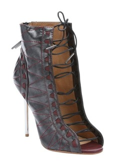 L.A.M.B. gunmetal and wine leather 'Tyra' open toe booties