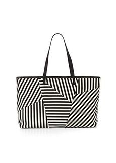 L.A.M.B. Idelia Striped Suede Tote Bag