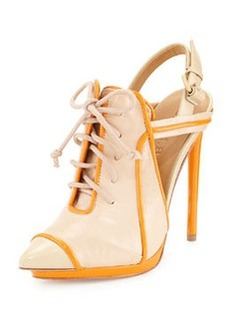 L.A.M.B. Janetta Leather Lace-Up Pump, Naked/Orange