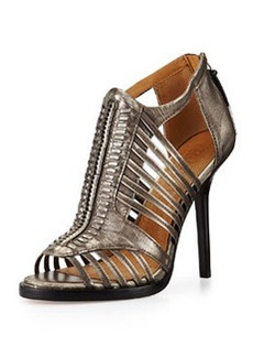 L.A.M.B. Kamy Metallic Leather Sandal, Gunmetal