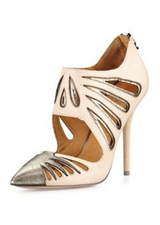 L.A.M.B. Kegan Metallic Leather Cutout Pump, Tan/Gunmetal