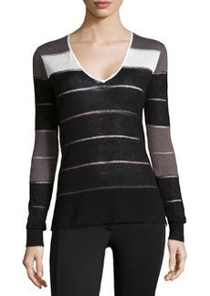 L.A.M.B. Knit Striped V-Neck Sweater, Black/Slate/White