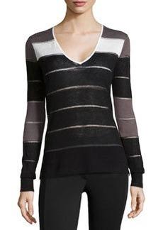 L.A.M.B. Knit Striped V-Neck Sweater, Black/Slate/White