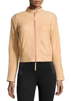 L.A.M.B. Leather Contrast-Trim Jacket, Sand