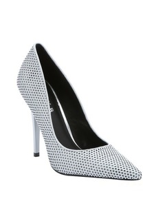 L.A.M.B. light grey perforated leather 'Bee' stiletto pumps
