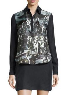 L.A.M.B. Long-Sleeve Printed Dress
