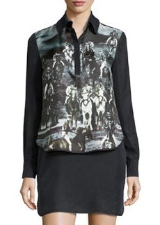 L.A.M.B. Long-Sleeve Printed Dress