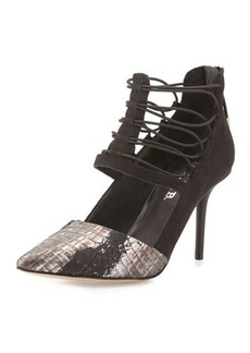 L.A.M.B. May Snake-Embossed Caged Pump