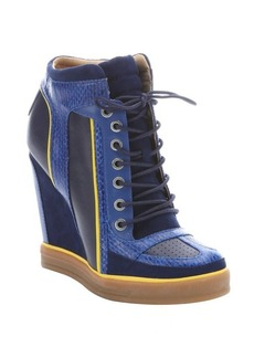 L.A.M.B. navy leather and suede 'Summer' lace-up wedge sneakers